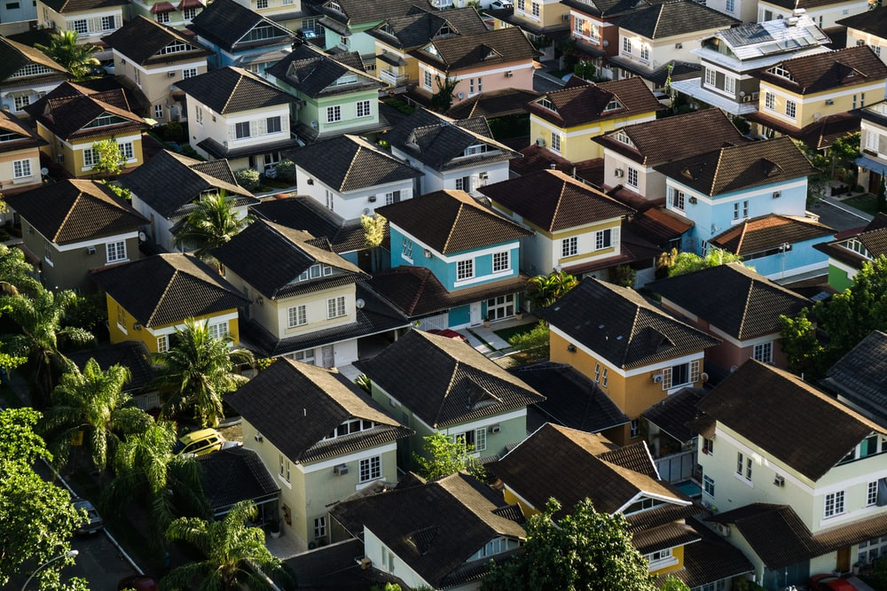 Aerial photography of colorful town houses