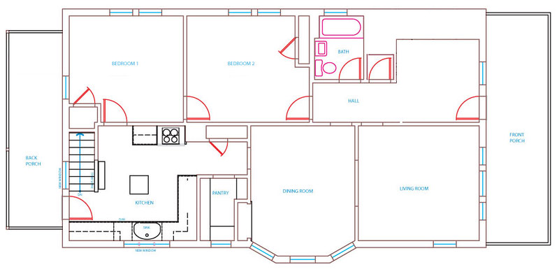 A sketched layout of a house
