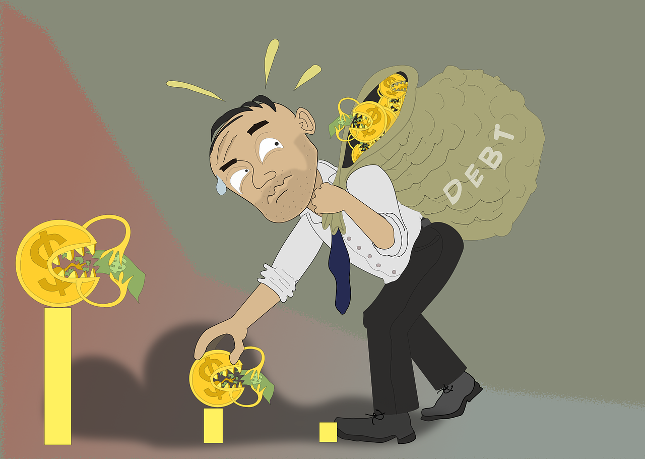 """An illustration of a man carrying a sack of cash with """"Debt"""" written on it and still trying to grab more cash."""
