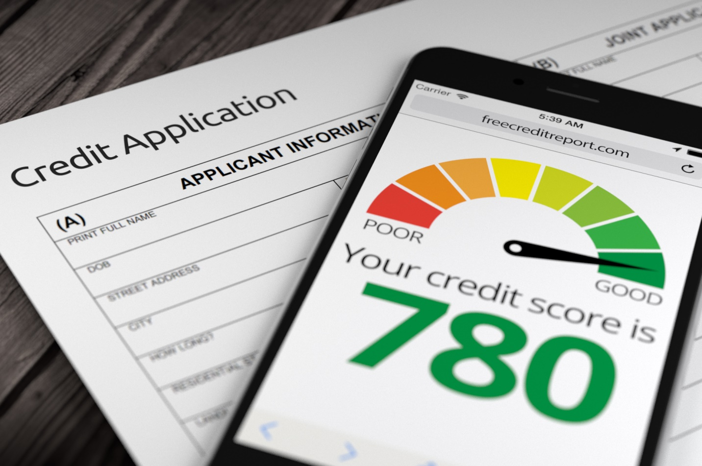 """A mobile phone placed on top of a """"Credit Application"""" and the screen showing a credit score meter with the needle pointing towards the numbers """"780"""" in green that has """"Good"""" written underneath it."""
