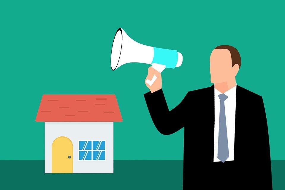 House, Auction, Public Sale, Buying, Selling, Megaphone